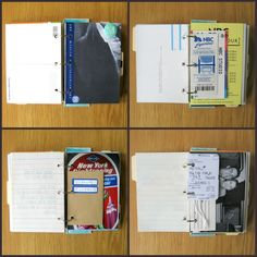 This is a mixed paper journal that holds all of of the pictures, tickets, brochures, and other mementos from a trip!