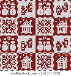 Vector seamless knitted winter pattern for plaid Xmas Cross Stitch, Cross Stitching, Cross Stitch Embroidery, Cross Stitch Patterns, Crochet Patterns, Knitting Charts, Knitting Stitches, Paisley Art, Christmas Knitting Patterns