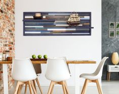 Large Reclaimed Wood Wall Art with shelves