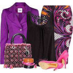 Dior Bag & Multi-Colored Pencil Skirt