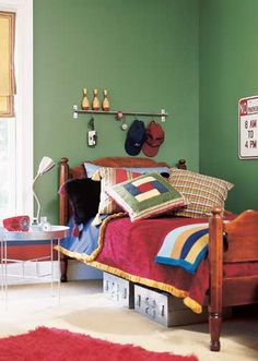 Rugby Style - Start with a great color on the walls, add lots of textures in furnishings, then drop in cool materials and accessories for a room that will keep a young boy happy through his teen years. Rugby-shirt stripes and madras were the inspiration for this colorful space. Discover more kids room decorating and organizing tips and ideas @ http://kidsroomdecorating.net
