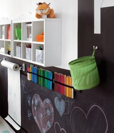 Chalkboard playroom and storage cubbies