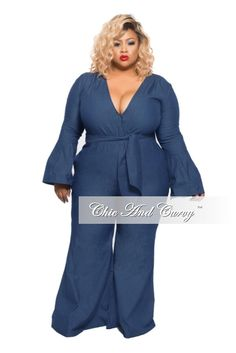 New Plus Size Jumpsuit with Bell Sleeves and Flared Leg in Dark Denim – Chic And Curvy