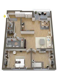Dream house plans, small house plans, house plans, house blueprints, t. Sims House Plans, Dream House Plans, Modern House Plans, Small House Plans, House Floor Plans, Two Bedroom Floor Plan, 2 Bedroom House Plans, Apartment Layout, Apartment Design
