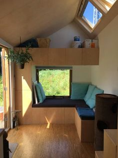 Marjolein's Tiny House - Tiny Living - The high ceilings provide an open feel and the three operable skylights let in abundant natural lig - Off Grid Tiny House, Small Tiny House, Modern Tiny House, Tiny House Living, Tiny House Plans, Home And Living, Micro House, Small Room Design, Tiny House Design
