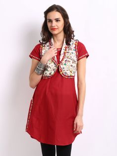 Buy BIBA Women Red & Off-White Kurta With Waistcoat - MADHUBANI # 8529-RED-236059 - Apparel for Women
