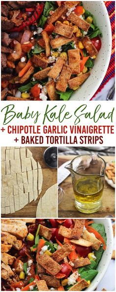 This baby kale salad features a chipotle garlic vinaigrette and easy homemade tortilla strips (baked not fried!) for a healthy side that complements any entree. #ExperienceFrontera AD