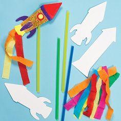 Bastelset - Rakete mit Stab - für Kinder zum Basteln und Spielen - Raumfahrt und Feuerwerk - 6 Stück