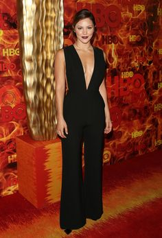 You cannot beat a sexy classic black jumpsuit, with plunging neckline, and Noir lips, beautiful