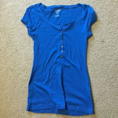 Blue Old Navy Button Down Only wear is the size inside the shirt is rubbing off. Other than that this shirt is perfect! Let me know if interested. Size Medium, but fits more like a small. Old Navy Tops Blouses