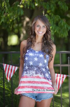 Our bestselling American Flag tank is lightweight and perfect to show your American Pride! The super soft material will help you stay comfortable all day long - even on the warmest of summer days. Pair it with white shorts and sandals to complete the look!