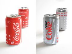 Coca-Cola Space Invaders Cans Edition  Designer Erin L. M. McGuire wanted to revisite the 3 designs of Coca-Cola Coca-Cola Diet and Coca-Cola Zero cans. In a pixelated and inspired by cult video games Space Invaders she wanted to give a geek and vintage look to these cans. The idea came to her by seeing in the streets of all around the world the ceramic work of French street-artist Invader. Her approach was not taking off the streets but Coca-Cola cans and transform in pixels the logo…