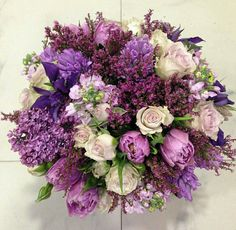 Love to shades of purple in this arrangement Funeral Flower Arrangements, Funeral Flowers, Floral Arrangements, Bunch Of Flowers, Beautiful Flowers, Floral Bouquets, Wedding Bouquets, Floral Wedding, Wedding Flowers