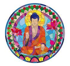 Stained glass Buddha ~