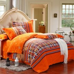 Contemporary Modern Flame Orange Brown White and Blue Mosaic Plaid and Stripe Print Full, Queen Size Luxury Cotton Bedding Sets