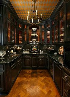 butlers pantry in dramatic black lacquer paint