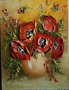 Buy Poppies in a vase. - Colorful, painting, painting as a gift, a picture for… Texture Painting On Canvas, Oil Painting Flowers, Abstract Flowers, Sculpture Painting, Painting & Drawing, Knife Painting, Plaster Art, Diy Canvas Art, Mosaic Art