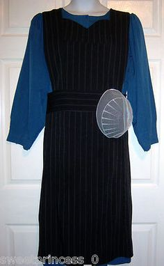 Amish Dress Full Pinafore Apron & Prayer Kapp 44/38 Pa. Amish Clothing