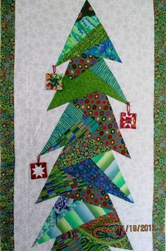 Santa & Christmas Trees Wall Hanging Pattern by BobKat Quilts ... : christmas tree shop quilts - Adamdwight.com