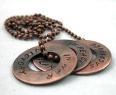 Dragon Age Necklace  Hand Stamped Copper Washer by oneeyedfox, $27.95