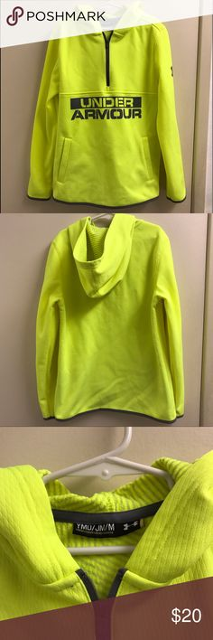 Under Armour athletic wear Bright green cold gear athletic wear with hoodie from Under Armour.  Size youth medium.  In excellent condition. Under Armour Shirts & Tops Sweatshirts & Hoodies