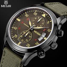 MEGIR Brand Watch Man's Fashion Military Quartz Watches Men Canvas Straps Analog Casual Chronograph Watch relogios masculinos