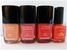 Und hier mal der Chanel Nagellack Holiday im Vergleich zu Chanel June, Chanel Orange Fizz und einem orangefarbenen LCN Nagellack http://infarbe.blogspot.de/2012/05/chanel-nagellack-holiday-617-swatches.html