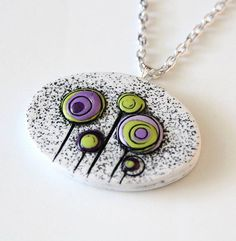 Green Purple Circle Flowers Polymer Clay Pendant with chain horizontal oval