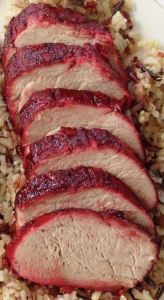 Healthified Chinese BBQ Pork (Char Siu) -- hold the red food coloring, add a splash of red wine and about cup of beet juice Pork Recipes, Asian Recipes, Cooking Recipes, Chinese Pork, Recipe For Chinese Bbq Pork, Bbq Pork Fried Rice Recipe, Chinese 5 Spice, Chinese Meals, Hoisin Sauce