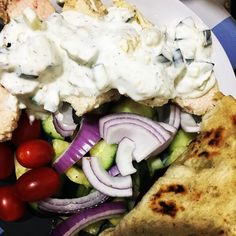 Made Greek-style chicken with cucumber salad tzatziki and homemade pita bread. Never been so excited for lunch at work before lol