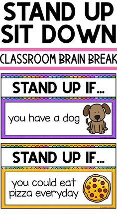 Classroom Brain Break Quick brain break game Stand Up Sit Down First Grade Classroom, Classroom Behavior, Kindergarten Classroom, Classroom Management, Behavior Management, Classroom Ideas, Brain Breaks For Kindergarten, Kindergarten Ice Breakers, Kindergarten Smorgasboard