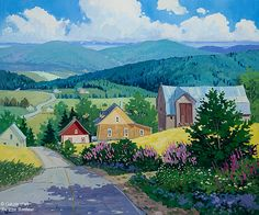 """Louise Martineau - """" Au b - Diy Decora la Maison Small Paintings, Colorful Paintings, Nature Paintings, Art Fantaisiste, Canadian Painters, Farm Art, Z Arts, Naive Art, Whimsical Art"""