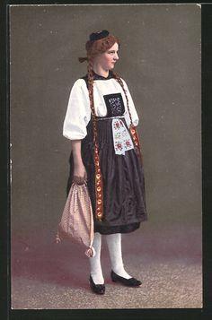 old postcard: AK Schweiz, S'Vreneli ab em Guggisberg, junge Frau in Tracht