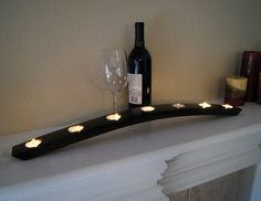 7 Tea Light Wine Barrel Candle Holder 28 inches - Wine Home Decor. $24.00, via Etsy.