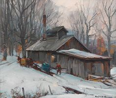 Sugar house, Vermont by Emile Albert Gruppe Abstract Landscape Painting, Watercolor Landscape, Landscape Art, Landscape Paintings, Landscapes, Painting Snow, Winter Painting, Winter Art, Farm Paintings