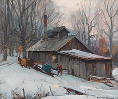 "Estimated Price:  $6,000 - $10,000   Description: EMILE ALBERT GRUPPE  (american 1896-1978)/span   ""SUGAR HOUSE - VERMONT""   Signed 'Emile A. Gruppe' bottom right, inscribed 'Sugar House Vermont by Emile A Gruppe' verso, oil on canvas   20 x 24 in. (50.8 x 61cm)  provenance:   /spanPrivate Collection, Pennsylvania."