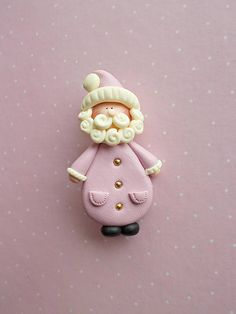 Christmas brooch created from polymer clay without molds or forms, with a lovely Santa Claus. A perfect gift for winter holidays. The lenght of the brooch is 5 cm. It is not heavy. Suitable also for children. ❀ Because i make everything by hand, the item you receive may differ slightly than