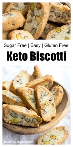 Crunchy Keto Pecan Pistachio Biscotti Keto biscotti – the classic Italian almond biscuits made low carb! This sugar free cookie recipe is super simple and produces wonderfully crunchy biscotti. See the post for plenty of tips and variations! Keto Friendly Desserts, Low Carb Desserts, Low Carb Recipes, Diet Recipes, Ricotta Recipes Healthy, Bread Recipes, Recipes Dinner, Crockpot Recipes, Snack Recipes