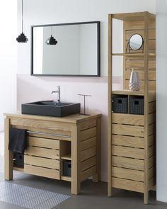 Origin by Line Art solid teak bathroom vanity with column