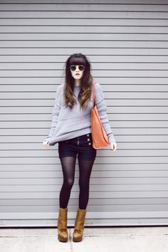 I just really love the high-wasted shorts + tights look!