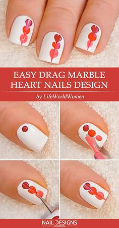 Easy Tutorials of Hot Valentines Nails Designs Easy Drag Marble Heart Nails Design The post Easy Tutorials of Hot Valentines Nails Designs appeared first on Daily Shares. Nail Art Hacks, Nail Art Diy, Easy Nail Art, Cool Nail Art, Diy Nails, Easy Art, Nail Art Tutorials, Heart Nail Designs, Diy Nail Designs