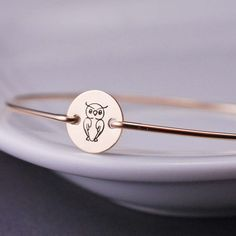 Owl Bangle Bracelet by georgiedesigns