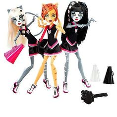 EXCLUSIVE Monster High 3-PACK FEARLEADING Werecats TORALEI Meowlody and Purrsephone