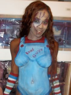 Chucky Inspired Body Painting Atlanta, GA  painted by Frances Muslar of www.fancysfacepainting.com Chucky, Face And Body, Body Painting, A Good Man, Art Work, Body Art, Atlanta, Fancy, Inspired