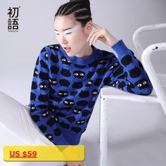 Toyouth Sweater Women 2017 O-neck Cartoon Cat Pattern Long SLeeve Female Knitted Loose Casual Pullovers