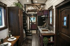 This is a Tudor-style Fairytale tiny house on wheels built by Tiny Heirloom and featured on a recent episode of Tiny Luxury on HGTV's DIY Network and you're welcome to come check it out and learn more about it inside! Tiny House Big Living, Tiny House Stairs, House Staircase, Tiny House Swoon, Tiny House Design, Staircase Storage, Staircase Ideas, Spiral Staircase, House Floor