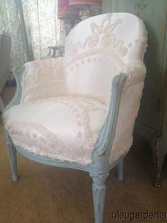Beach Cottage Vintage Slipper Chair ~ Boudoir Satin Chenille