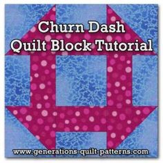 Churn Dash quilt block instructions - chart for different sizes