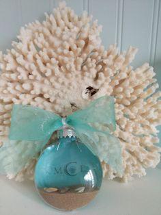 DIY Beach Ornament - coastal Christmas decorations  turquoise, sand, shells, monogram coastalshorecreations.com