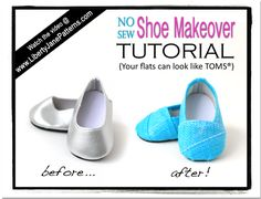 doll cloth, american girl diy shoes, tom shoes, flat, doll shoes, shoe makeov